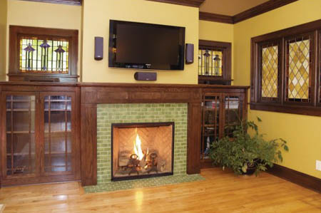 Green Tiled Fireplace
